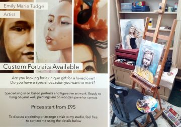 Emily Marie Tudge poster and photo of studio